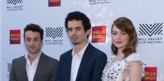 Damien Chazelle, Emma Stone e Justin Hurwitz, font Wikipedia commons