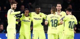 Giocatori del Barcellona dopo un gol.
