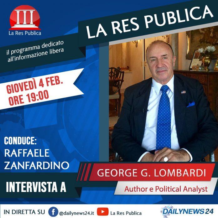 George Lombardi sarà ospite de 'La Res Publica' giovedì 4 febbraio 2021